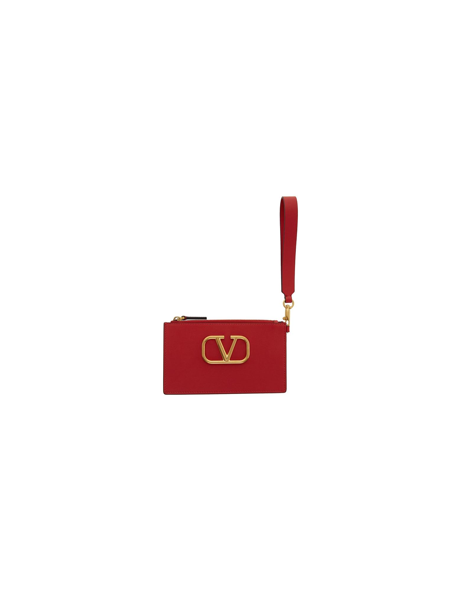 Valentino Designer Handbags, Red Valentino Garavani VLogo Pouch