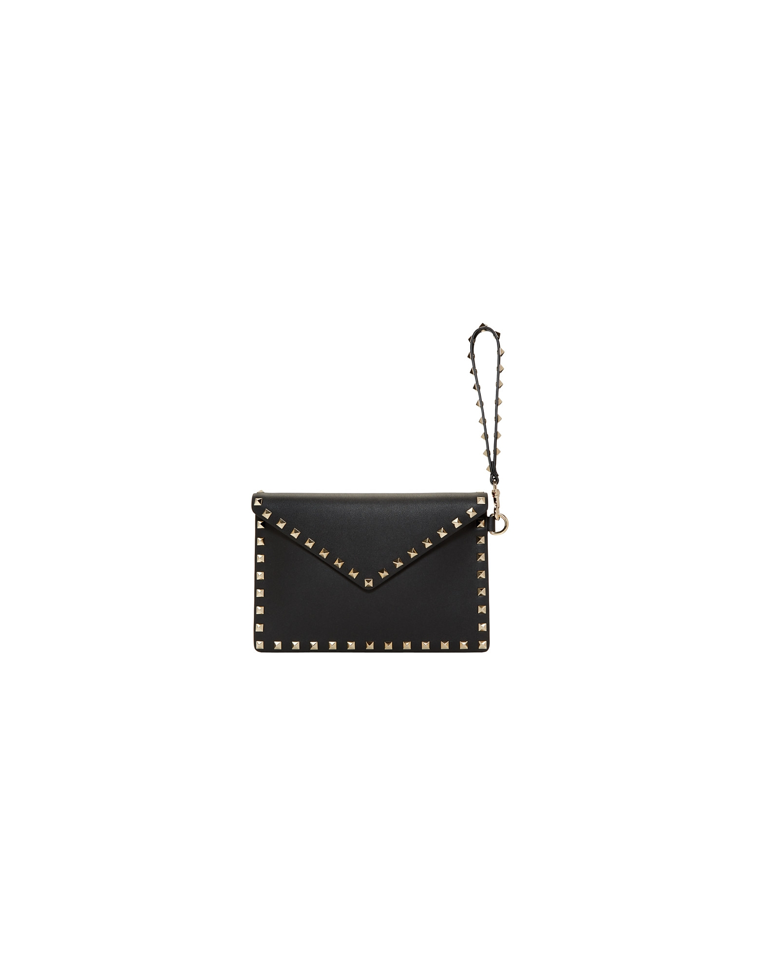 Valentino Designer Handbags, Black Valentino Garavani Medium Rockstud Envelope Pouch