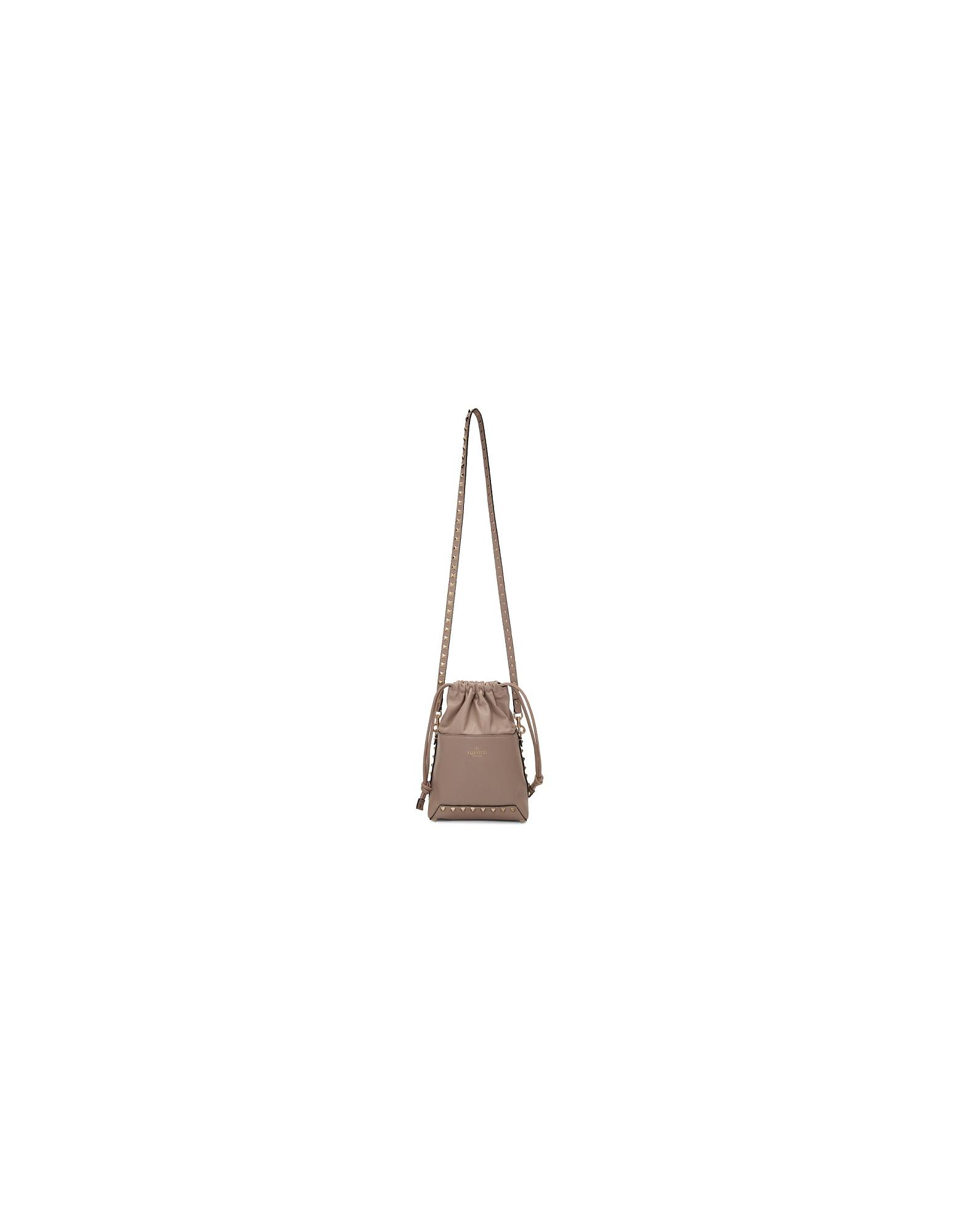 Valentino Designer Handbags, Pink Valentino Garavani Mini Rockstud Bucket Bag