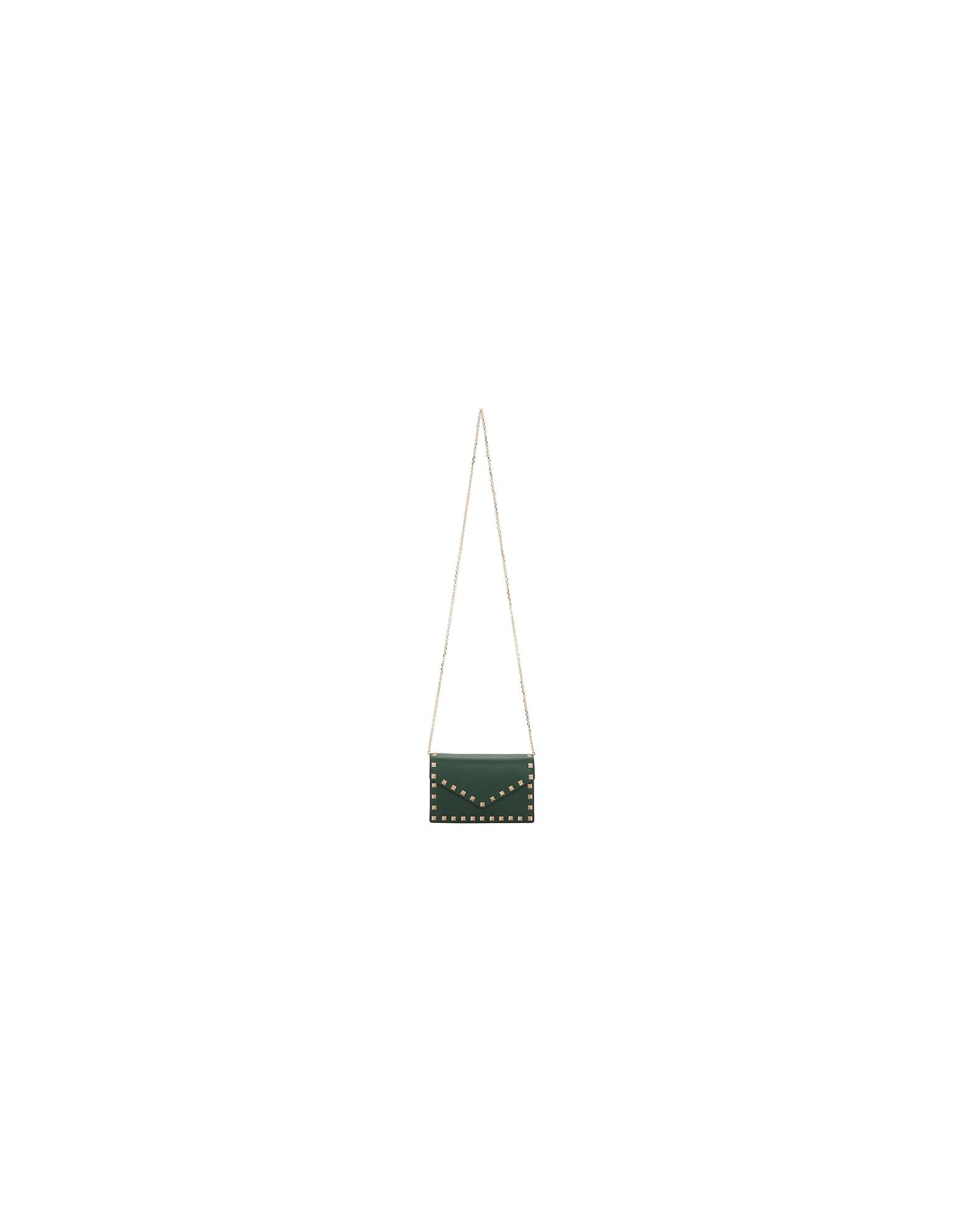 Valentino Designer Handbags, Green Valentino Garavani Rockstud Chain Bag