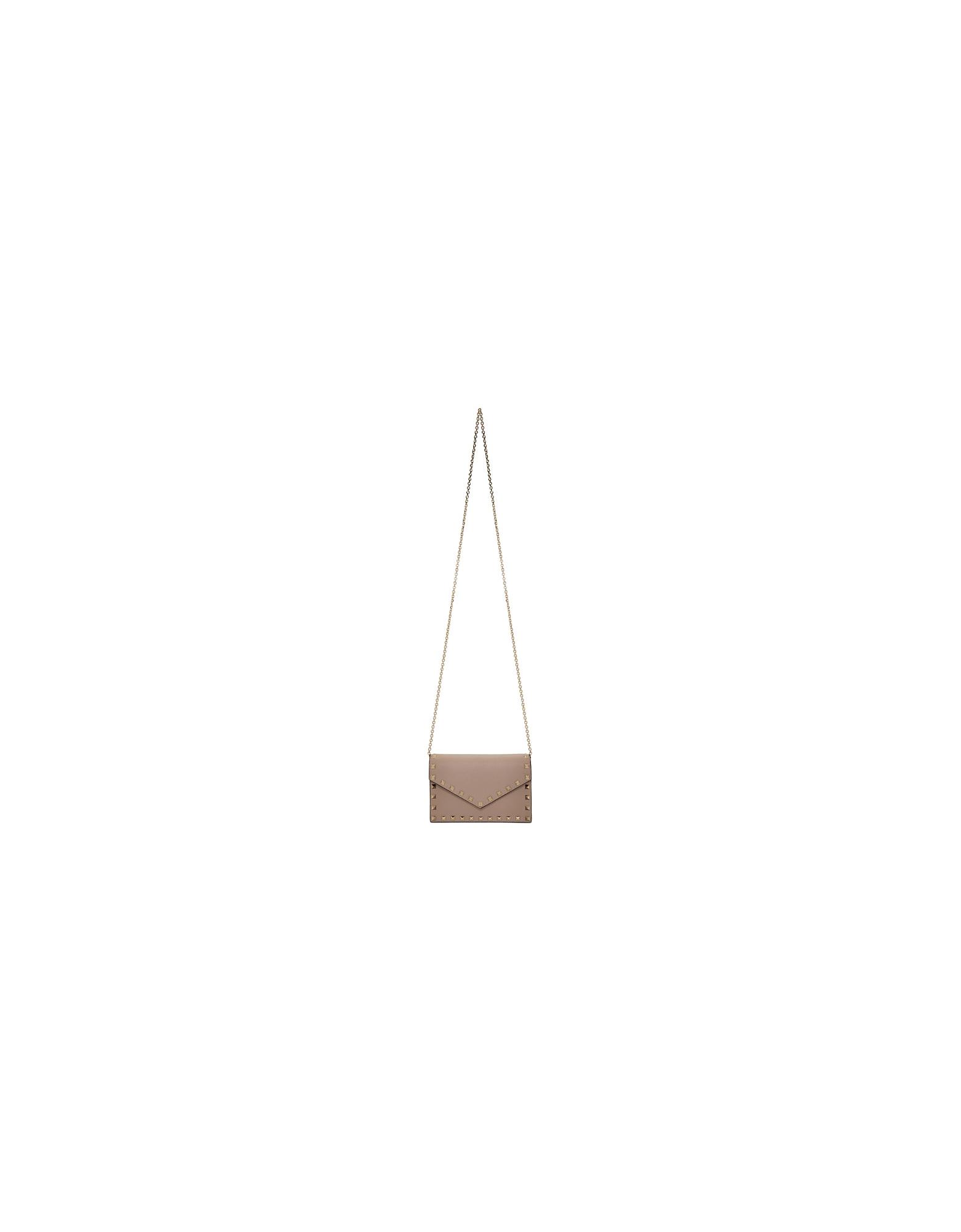 Valentino Designer Handbags, Pink Valentino Garavani Rockstud Wallet Chain Bag