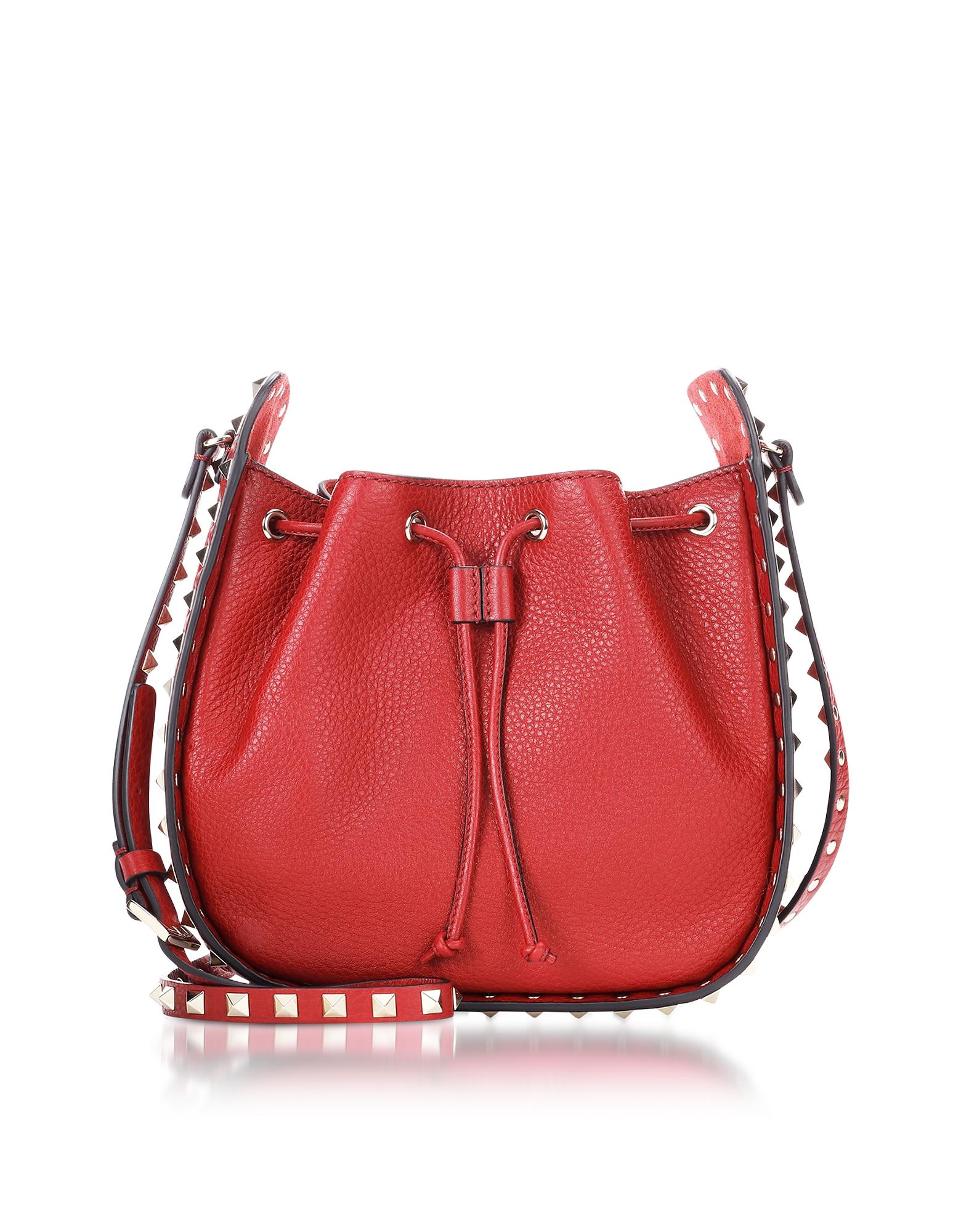 Valentino Handbags, Rubin Leather Rockstud Small Bucket Bag