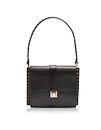 Valentino Garavani Black Leather Shoulder Bag w/Small Studs