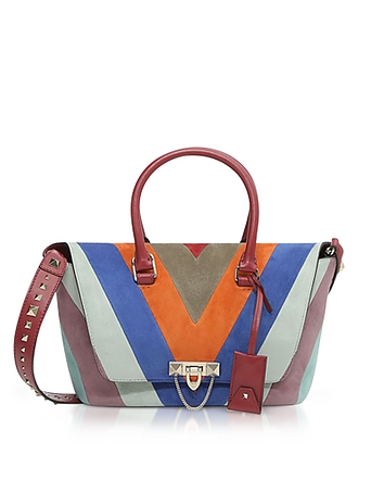 Striped Suede and Leather Demilune Small Double Handle Bag