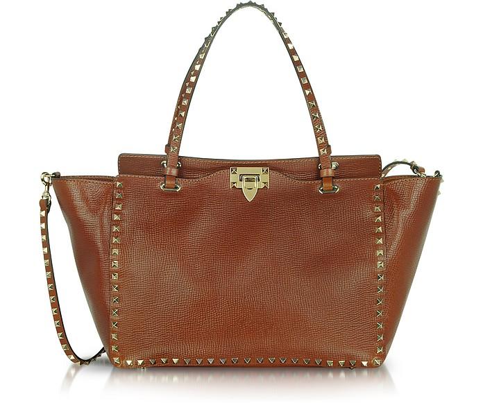 Medium Rockstud Brown Calf Leather Tote - Valentino