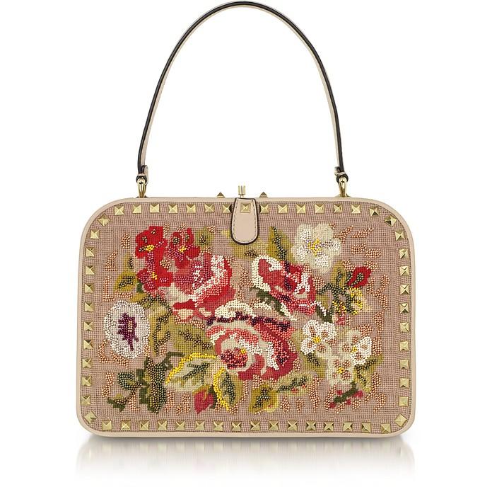 Rockstud Embroidered Frame Handbag  - Valentino