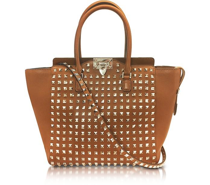 Rockstud Brown Leather Tote - Valentino