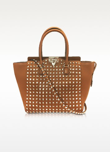 Rockstud Brown Leather Tote - Valentino