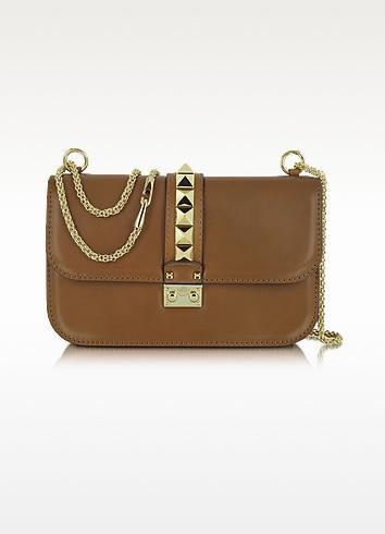 Rockstud Brown Leather Shoulder Bag - Valentino