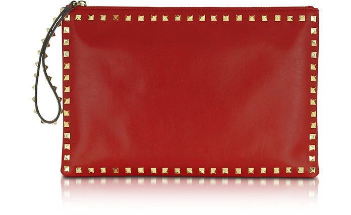 Rockstud Red Leather Zippered Clutch - Valentino