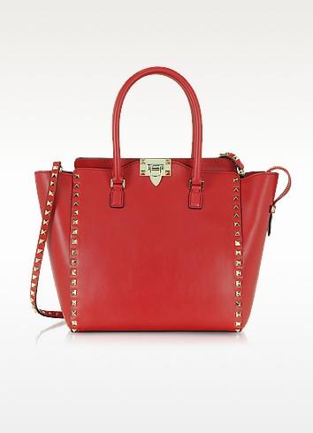 Rockstud Leather Tote w/ Shoulder Strap - Valentino