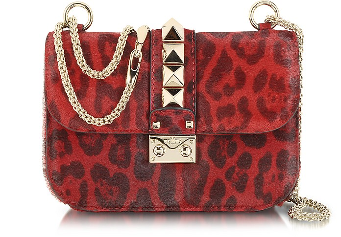 Red Calfhair Animal Print Shoulder Bag - Valentino