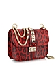 Red Calfhair Animal Print Shoulder Bag - Valentino