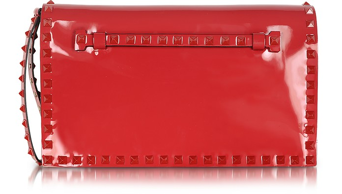 Rockstud Rouge Patent Leather Clutch - Valentino