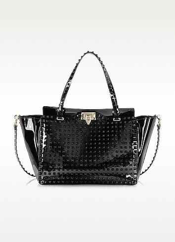 Rockstud Black Patent Leather Tote - Valentino