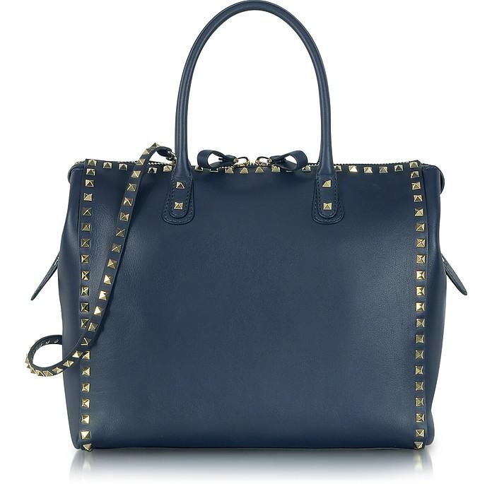 Rockstud Large Navy Blue Leather Satchel Bag - Valentino