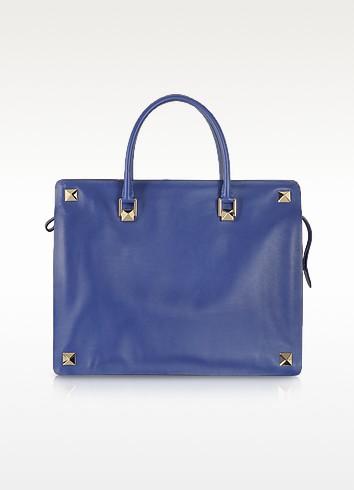 Blue China Leather Tote - Valentino