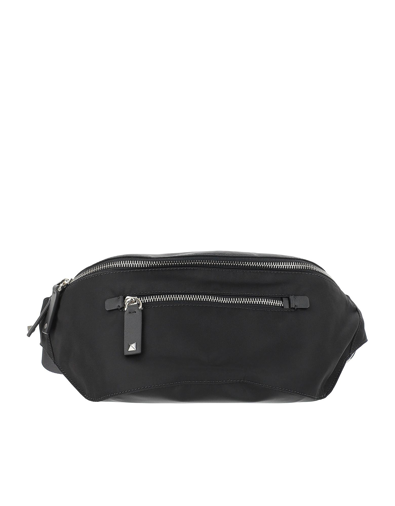 Valentino Designer Men's Bags, Black Nylon Vltn Belt Bag