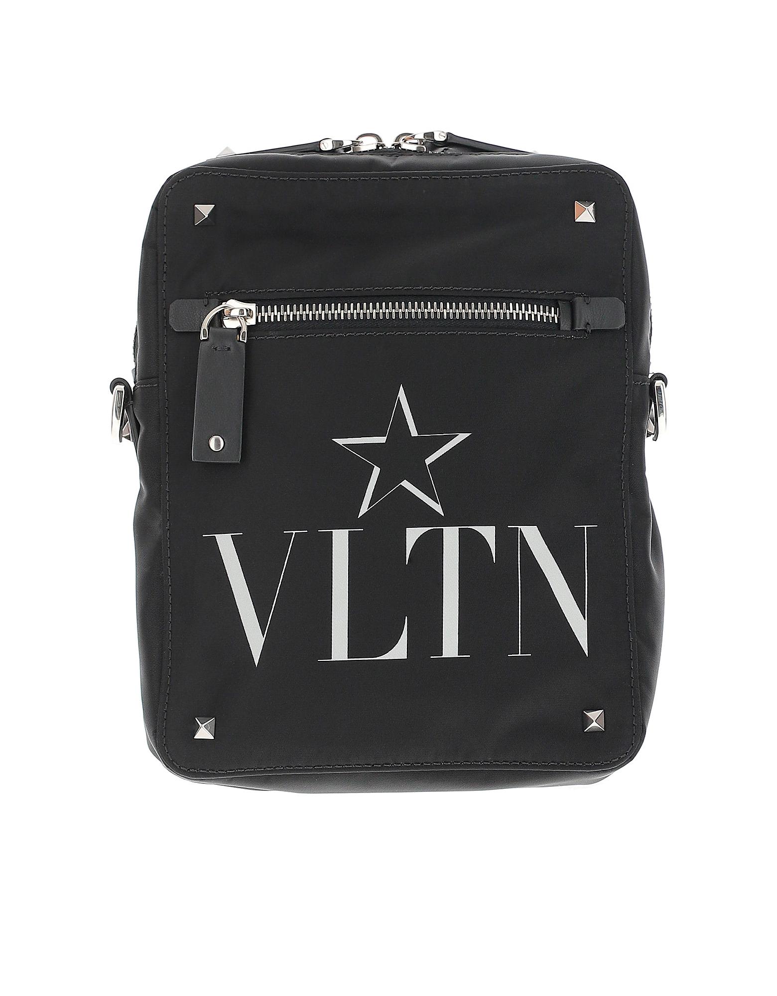 Valentino Designer Men's Bags, Black Nylon Signature and Star Crossbody Bag