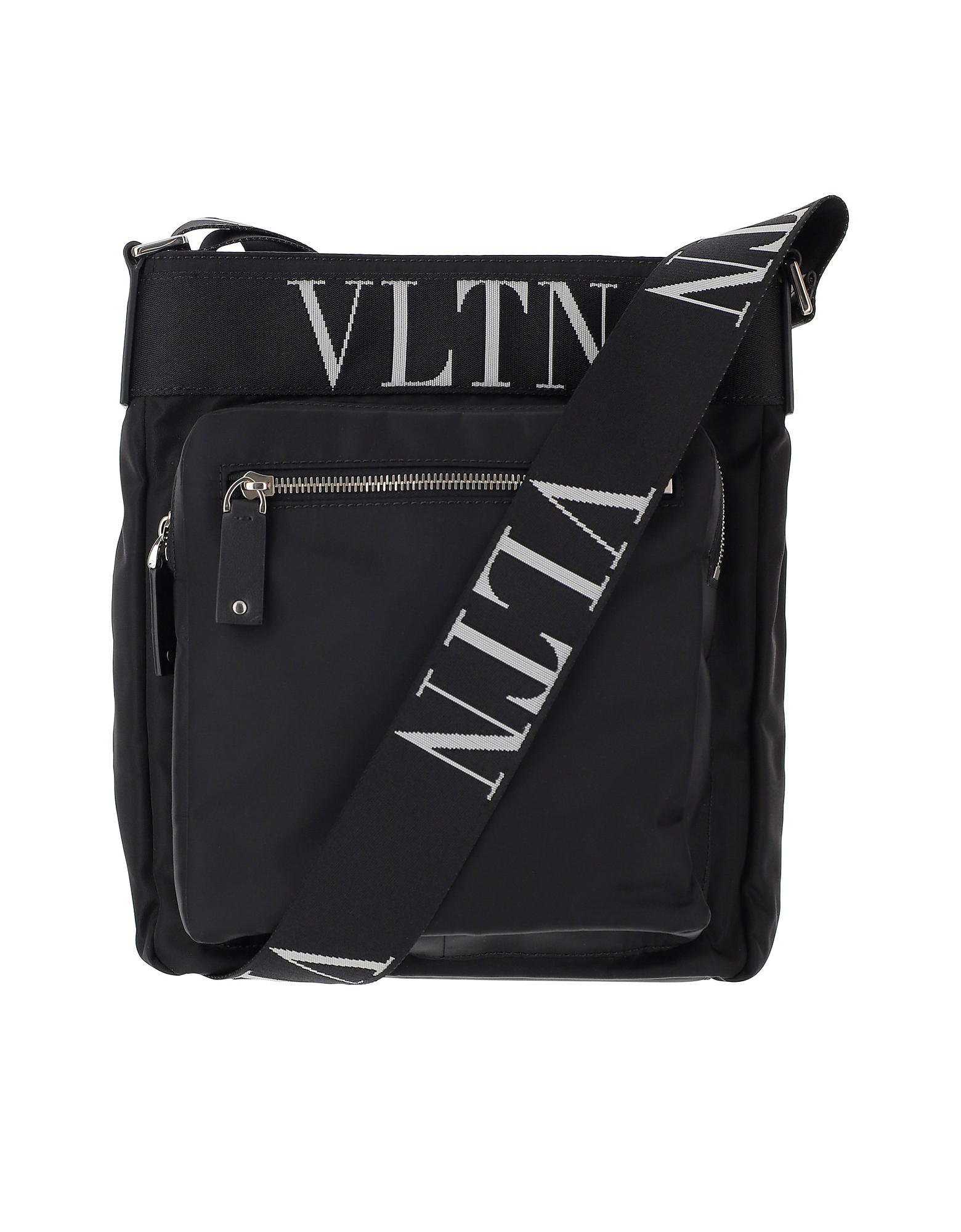 Valentino Designer Men's Bags, Black Nylon Crossbody Bag