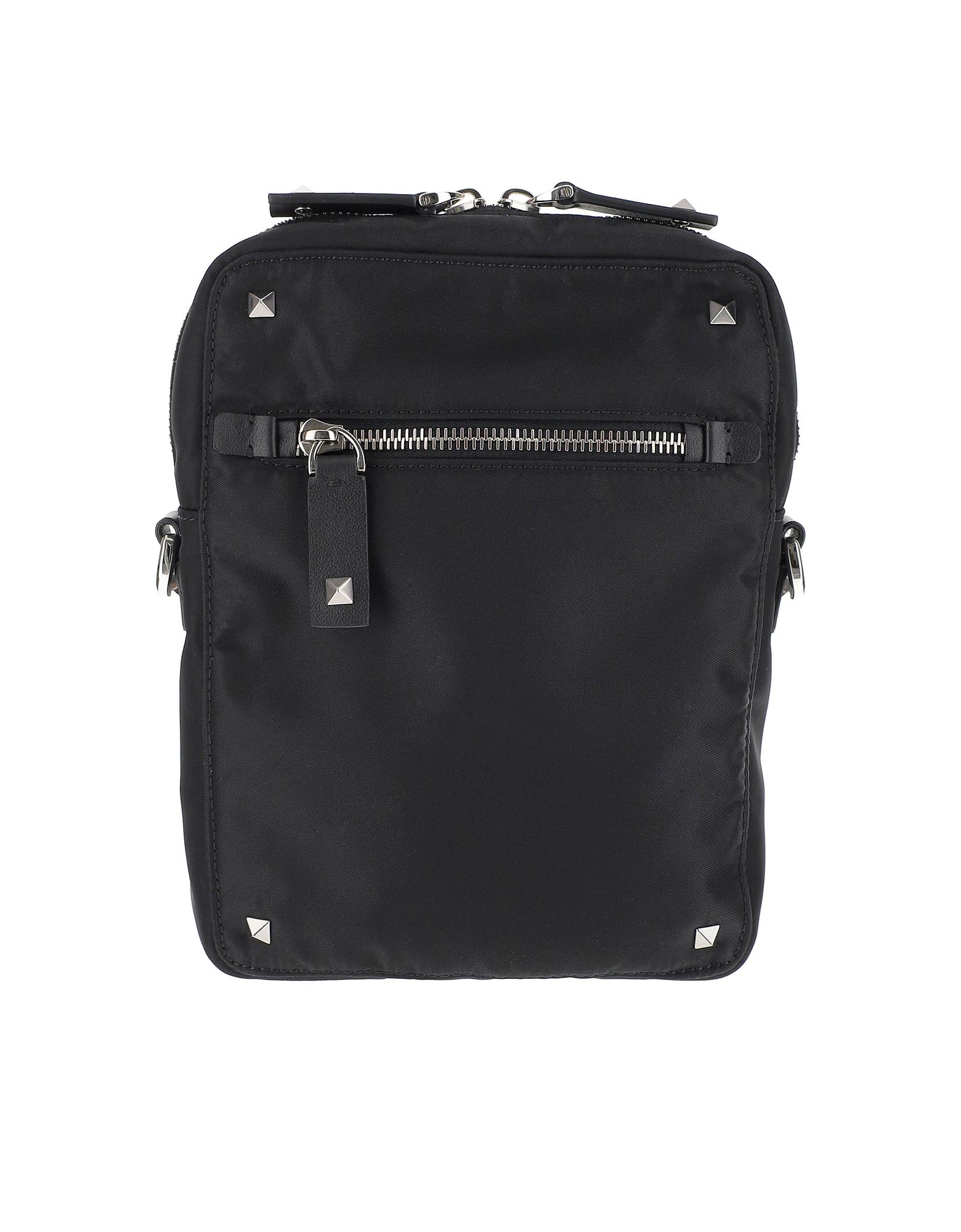 Valentino Designer Men's Bags, Black Nylon Shoulder Bag
