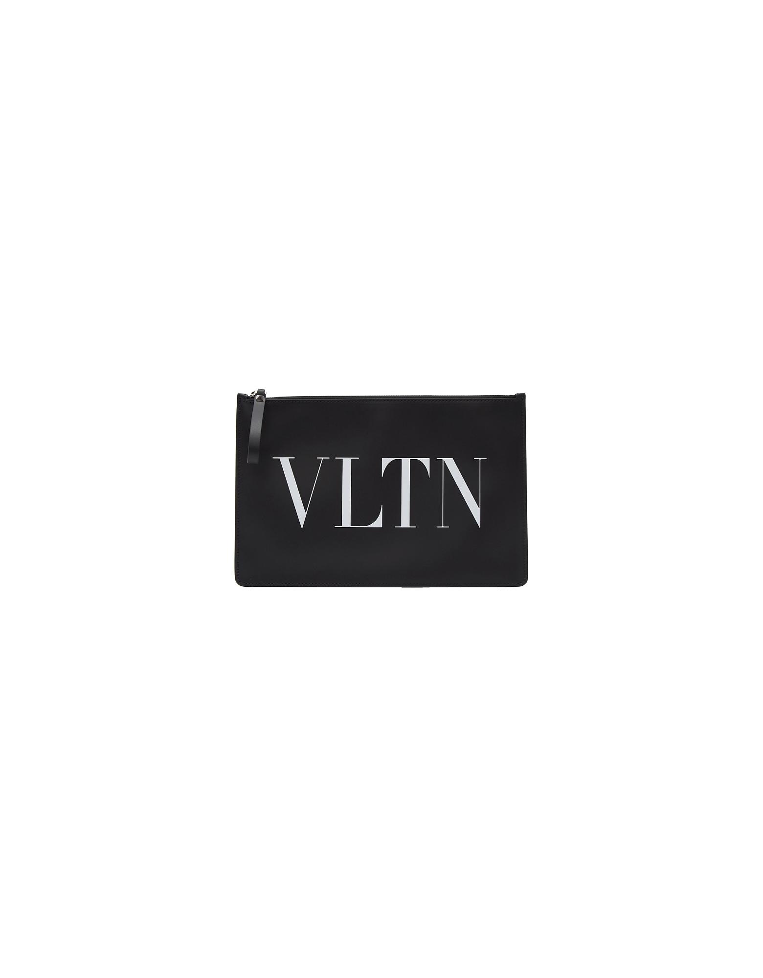 Valentino Designer Men's Bags, Black Valentino Garavani Large VLTN Pouch
