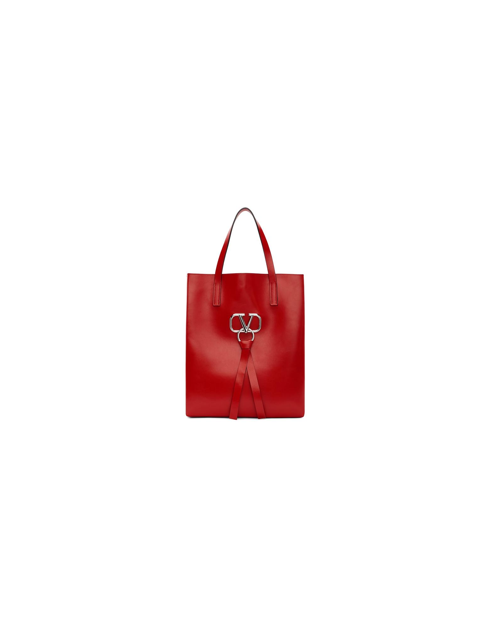 Valentino Designer Men's Bags, Red Valentino Garavani VRing Tote