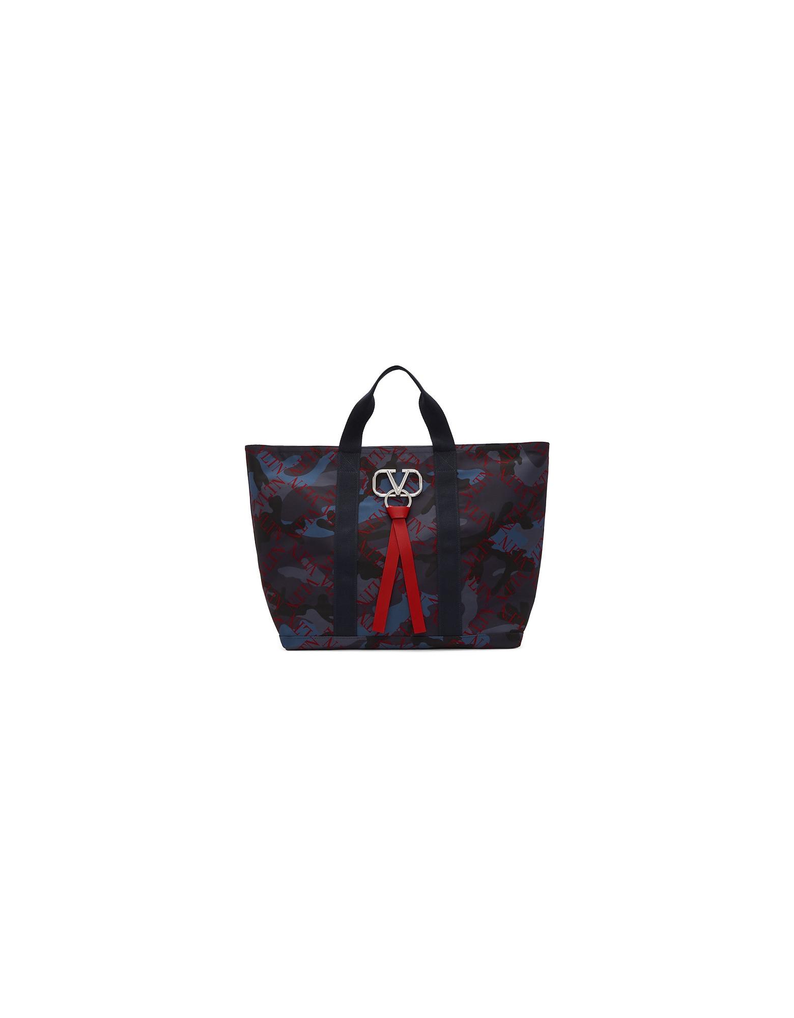 Valentino Designer Men's Bags, Navy Valentino Garavani Camo V-Ring Tote