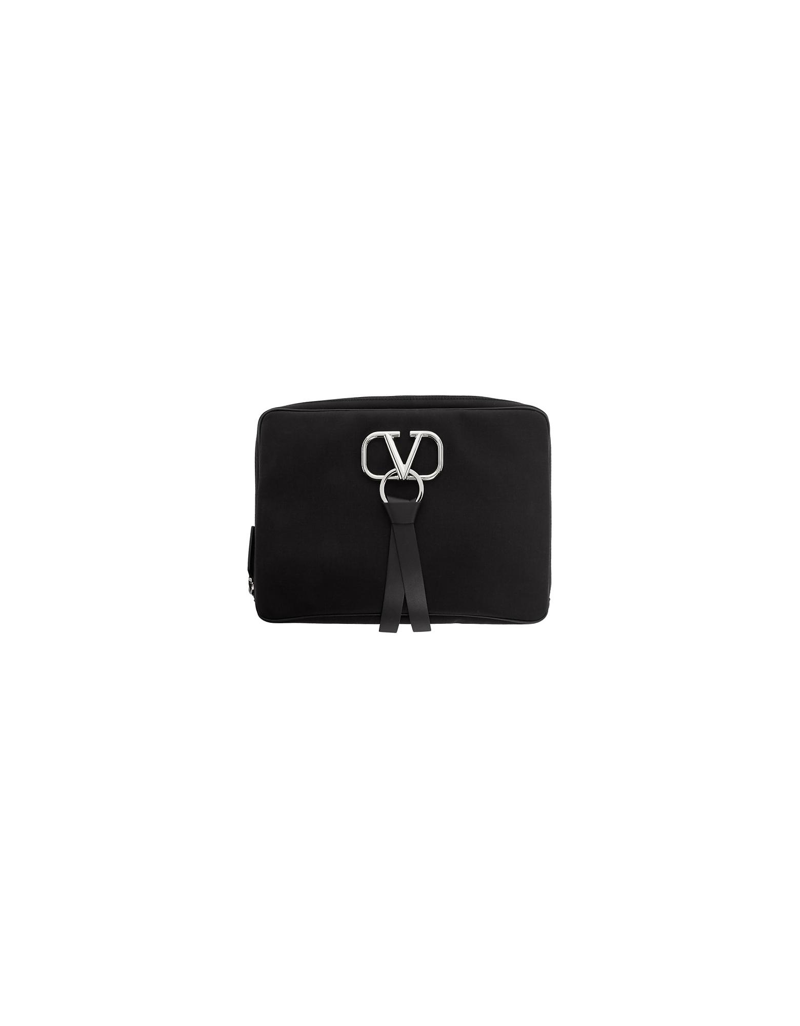 Valentino Designer Men's Bags, Black Valentino Garavani Large Nylon VRing Clutch
