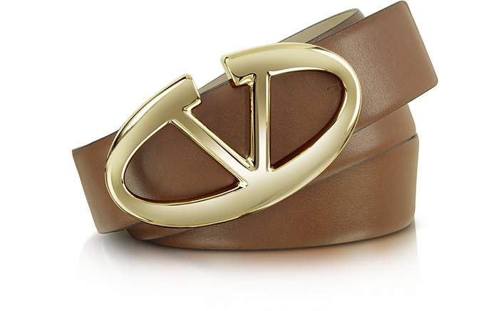 Signature Buckle Brown Leather Belt - Valentino