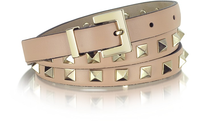Rockstud Light Pink Leather Belt - Valentino