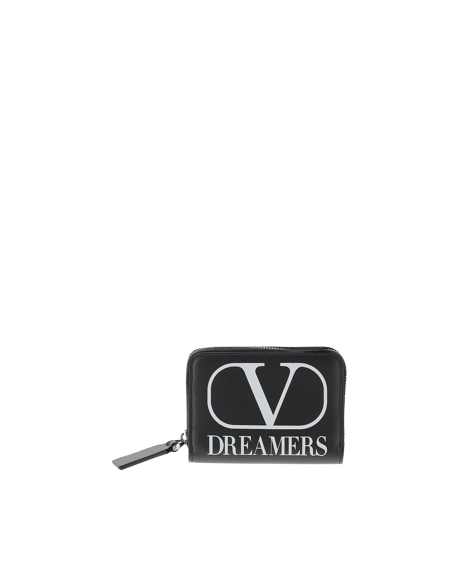 Valentino Designer Men's Bags, Black VLTN Leather Wallet