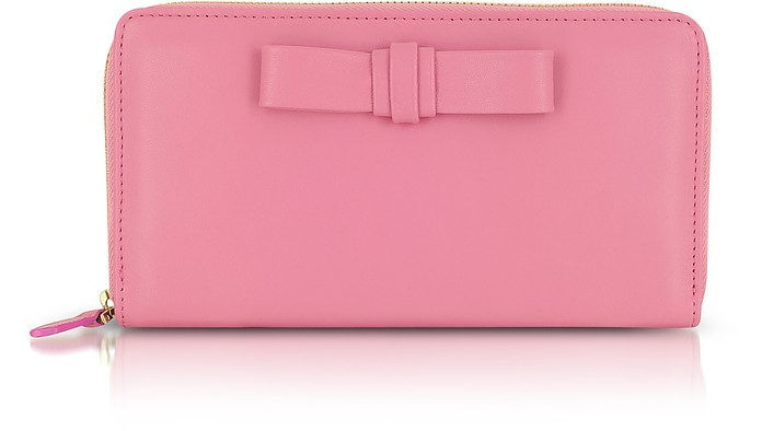 Passion Pink Leather Zip Wallet - Valentino