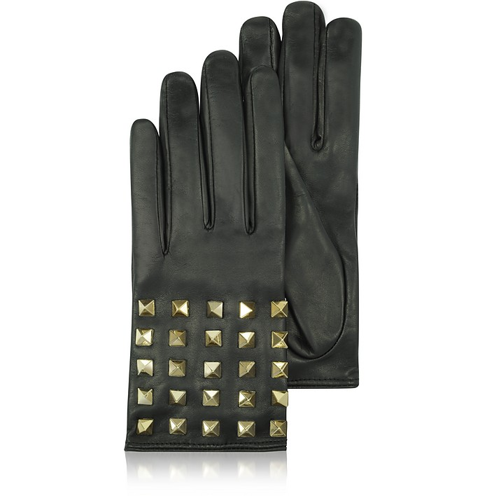 Rockstud Black Leather Gloves w/ Silk Lining - Valentino