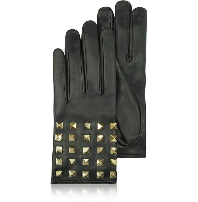 Rockstud - Черные Кожаные Перчатки с Подкладкой из Шелка - Valentino Garavani