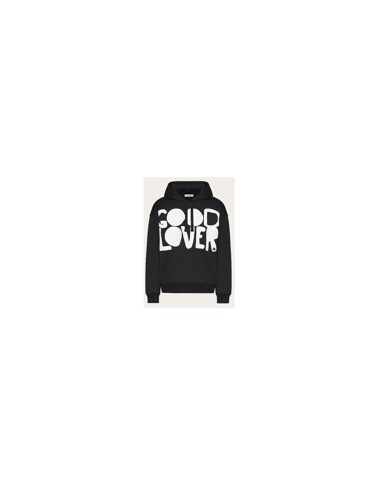 Valentino Designer Sweatshirts, Black Cotton Men's Hoodie