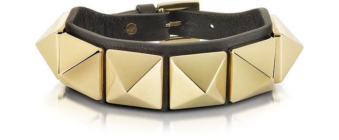 Rockstud Black Leather Bracelet - Valentino