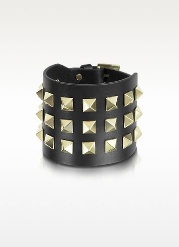 Rockstud Large Black Leather Bracelet - Valentino