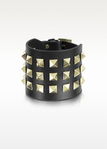 Rockstud Grand Bracelet en Cuir Noir - Valentino Garavani