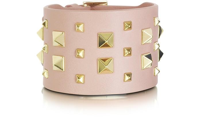 Double bracelet en cuir à clous - Valentino Garavani