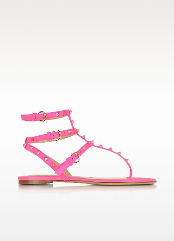 Rockstud Fluo Pink Flat Leather Sandal - Valentino