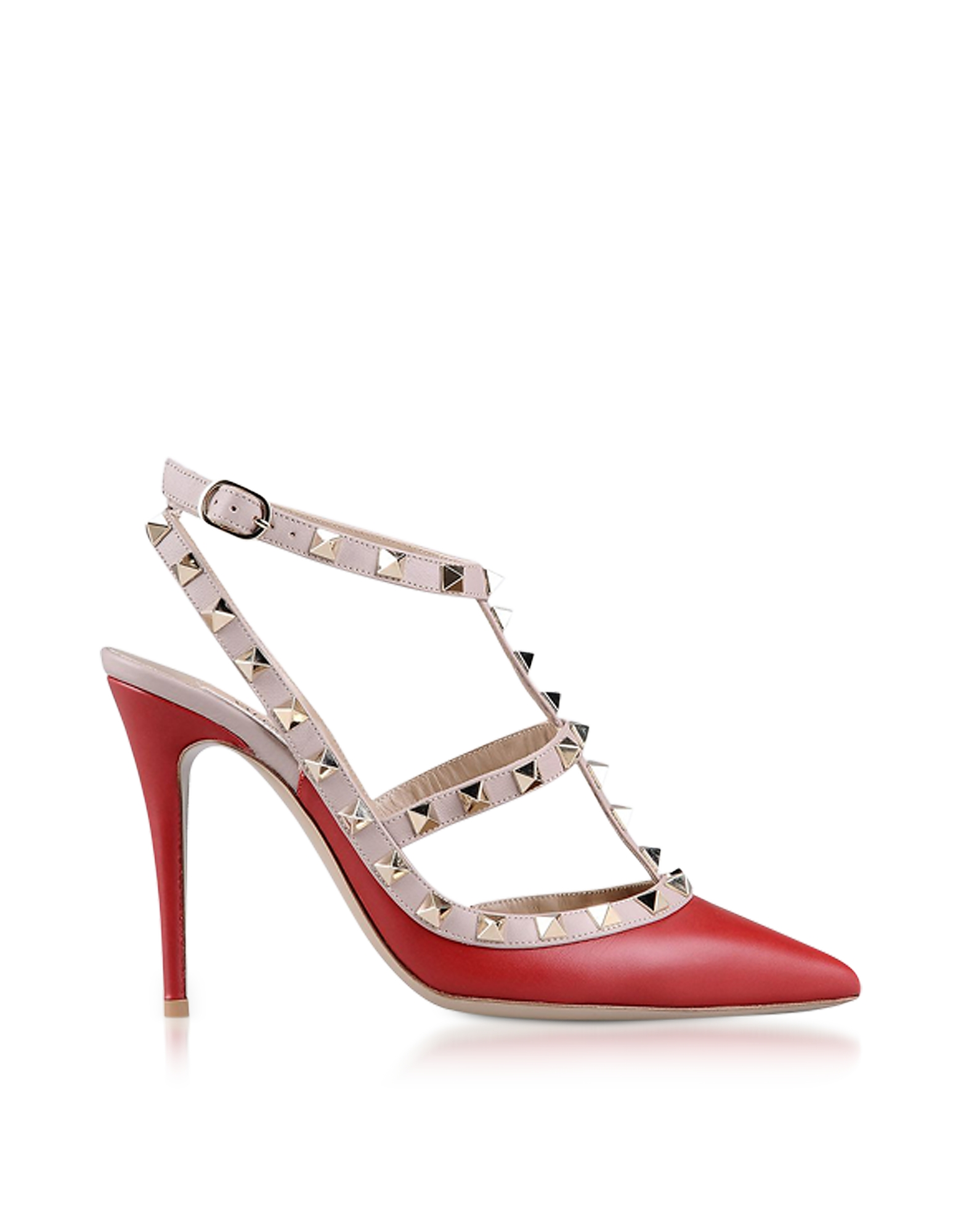 Valentino Shoes, Red Rockstud Ankle Strap Pump