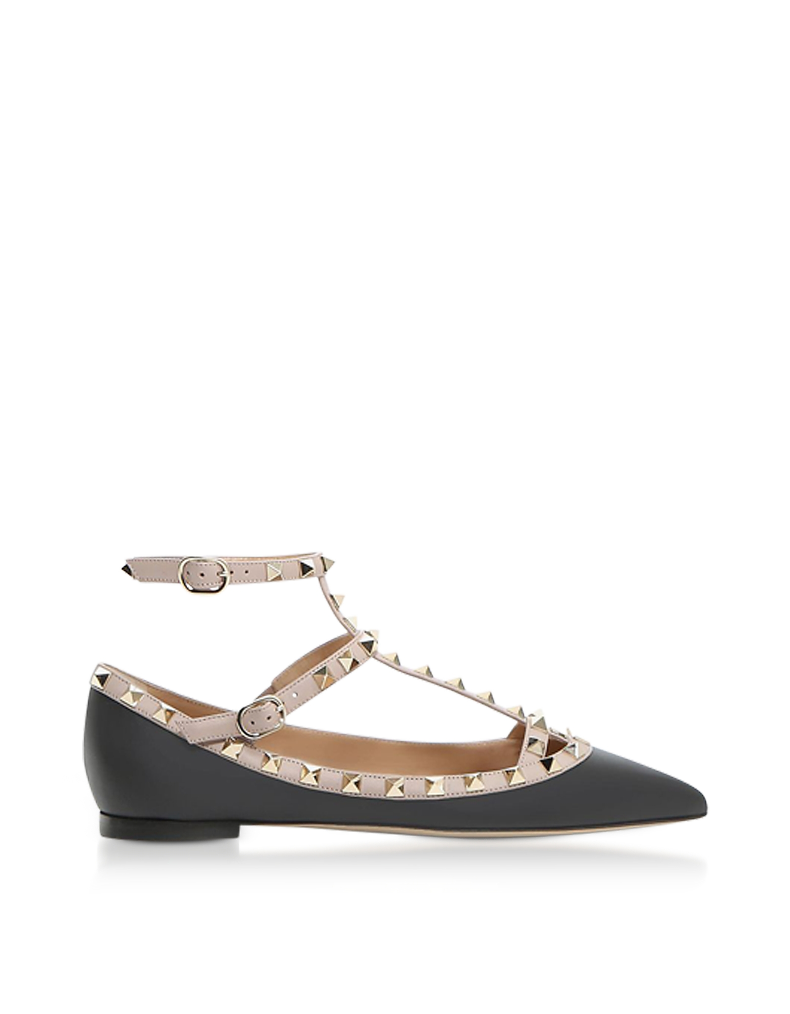 Valentino Shoes, Black Rockstud Ballerinas