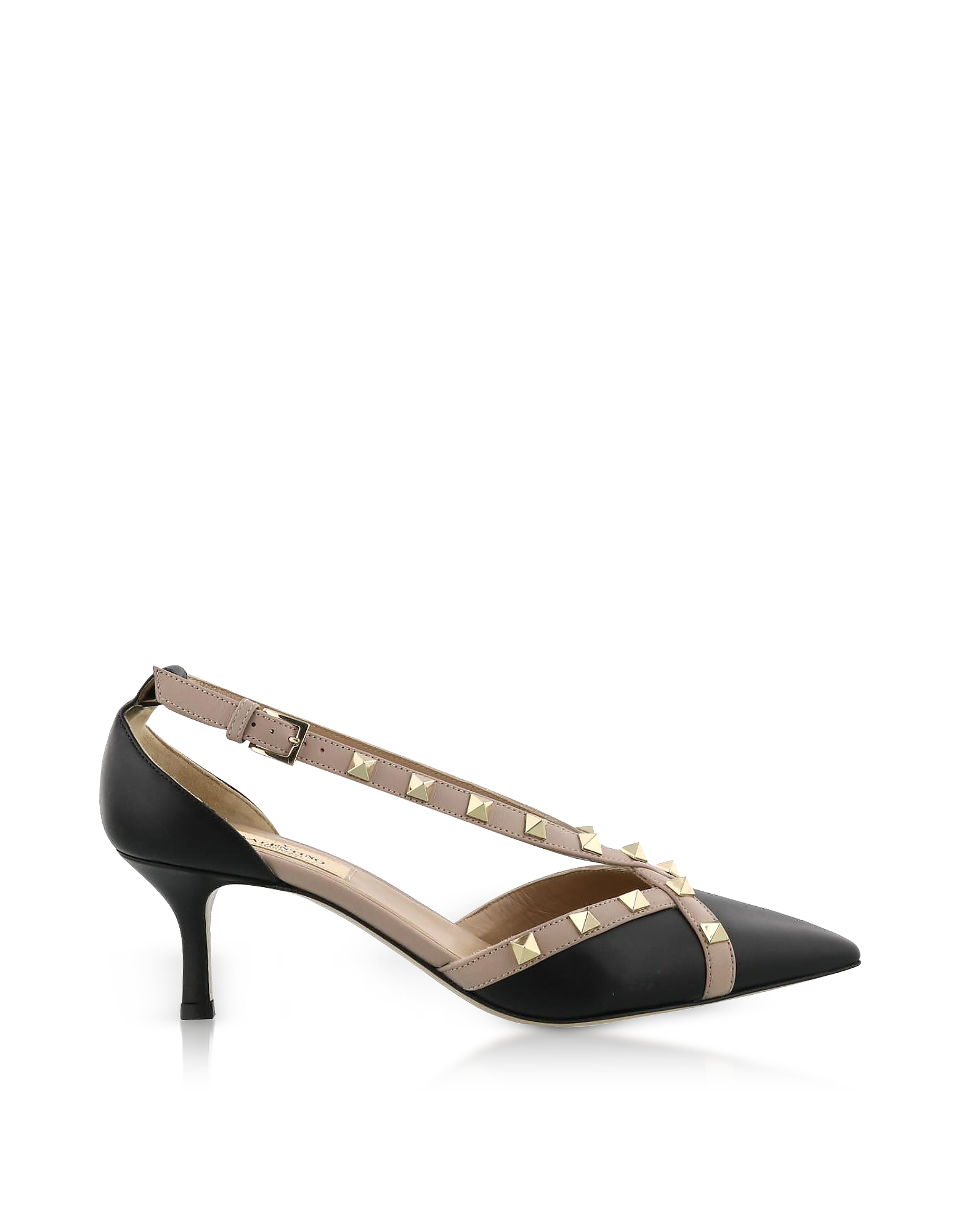 Valentino Shoes, Rockstud d'Orsay Black Leather Mid Heel Pumps