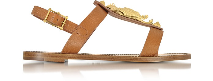 Gryphon Leather Flat Sandals - Valentino