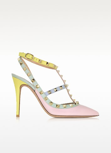 Rockstud Watercolor Leather Slingback Pump - Valentino