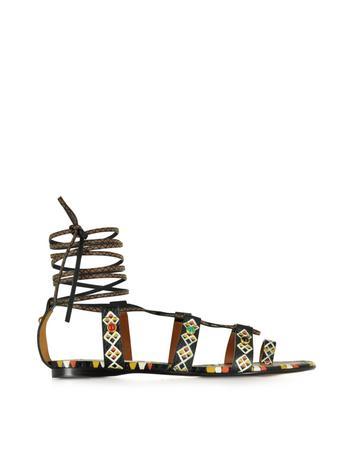 Valentino Garavani Multicolor flache Sandalen aus Leder