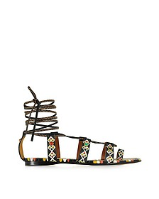 Multicolor Leather Flat Sandal - Valentino