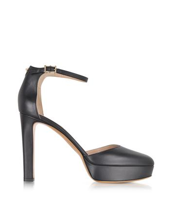 Ankle Strap Pump in Black Leather