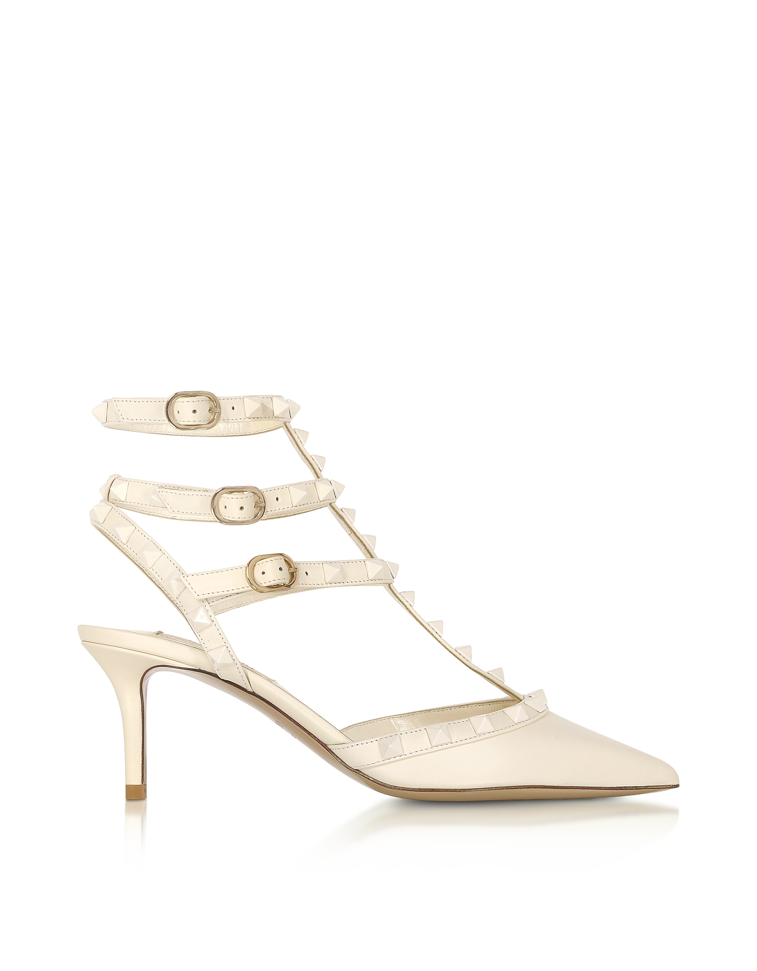 Valentino Shoes, Rockstud Ivory Leather Ankle Strap Pumps